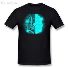 Мозг high tech схемы Мужская футболка образ по железной дороге