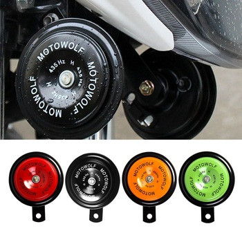Motorcycle 12V 110db Loud Horn Trumpet Waterproof Round Louder Speaker For Dirt Bike Electric Vehicle Scooter Air Horns Parts bicycle bike handlebar ball air horn trumpet ring bell loudspeaker noise maker free shipping