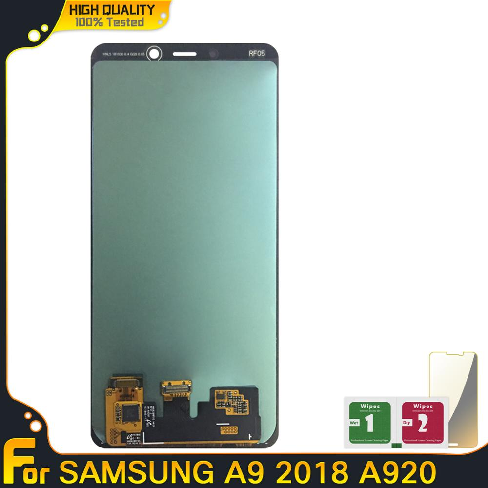 Super Amoled OLED ekran LCD do Samsung Galaxy A9 2018 A920 wyświetlacz LCD ekran dotykowy Digitizer zgromadzenie dla Samsung A920 A920F