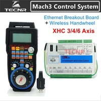 Mach3 Controller Kit Ethernet breakout board 3 4 6 axis motion control card XHC 2MHz with MPG wireless handwheel pendant WHB04B