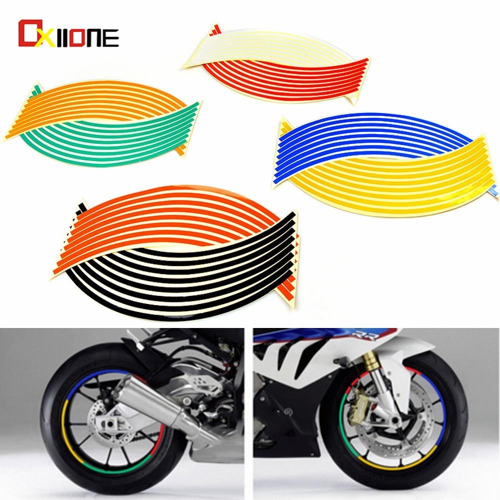 Reflective Wheel Rim Sticker Motorcycle Bike Decal Flame Tape 17 inch, Yellow