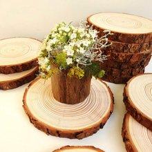 Inacabado natural redondo fatias de madeira círculos com casca de árvore log discos para diy artesanato festa de casamento pintura decoração