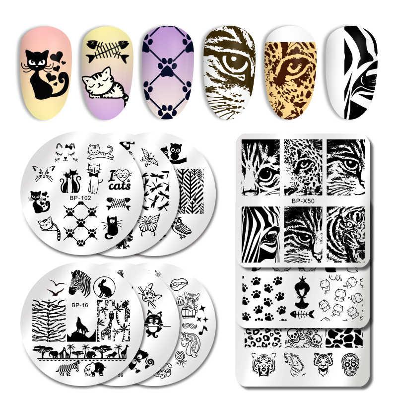 NATO ABBASTANZA Animali A Tema Del Chiodo Che Timbra Piatti Timbro Piatto Template Unghie artistiche del Cane Del Gatto Leopardo Zebra Immagine di Design FAI DA TE