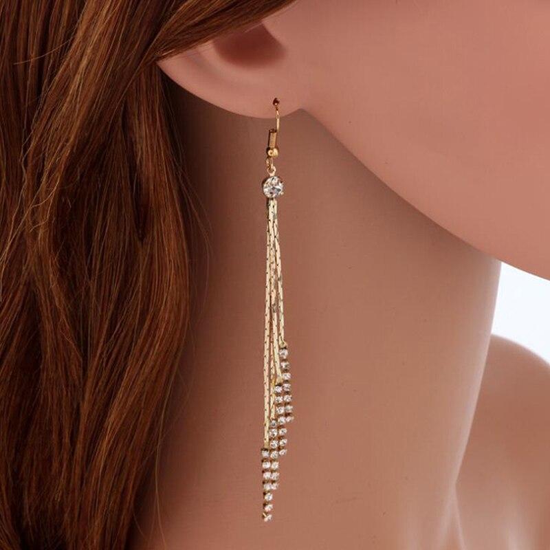 Luxury Gold Silver Color Metal Long Chain Tassel Drop Earrings Punk Style Women Dangle Earrings Party Jewelry 2020 New