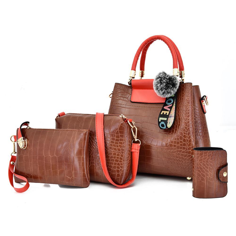 Fashion 4PS Women Bags Set Luxury Crocodile Female Handbags PU Leather Tote Brand Composite Bags Messenger  Shoulder Bags Bolsa