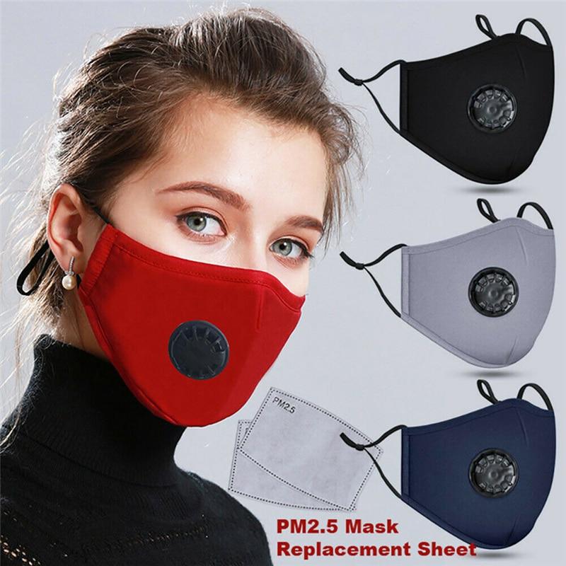 1Pc Men Women Reusable Washable Anti Dust Washable Mouth Face Mask With 2Pcs PM2.5 Flitter Outdoor Hot Sale