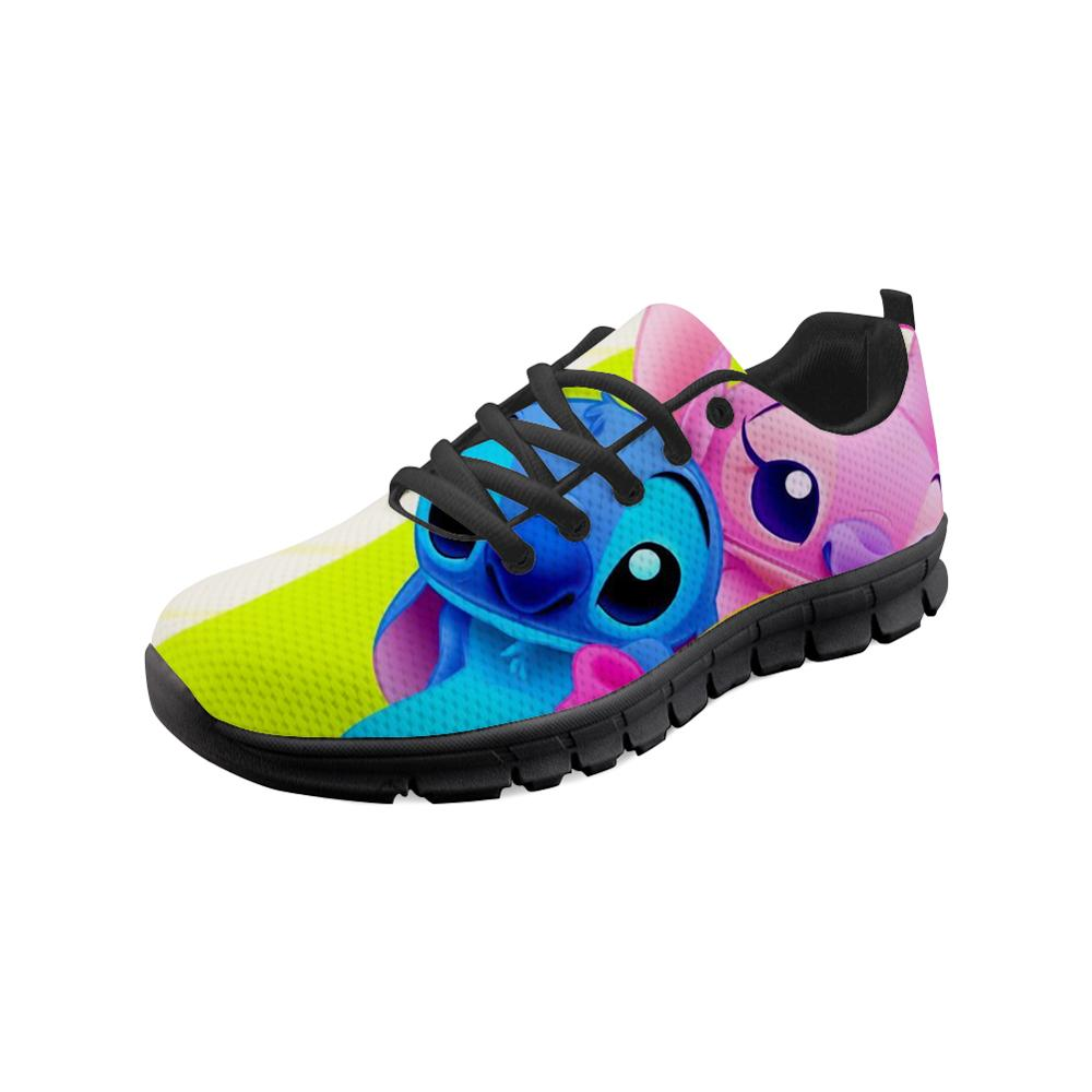 Customized Women Independent Design Lilo Stitch Cartoon Teen Girls Casual Walking Shoes Woman Fashion Nursing Flats Shoes Black