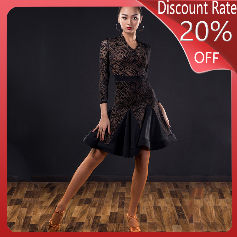 Latin Dance Dress Practice Clothes Female Professional Fishbone Skirt Performance Clothing Latin Dance Skirt Salsa Dress DQS335