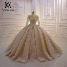 High Quality Full Sleeve Shiny Beads Pleat Beading Champagne 2019 Wedding Dress