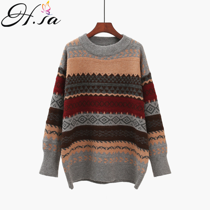 H.SA 2020 Women Vintage Pullover and Sweaters Winter Loose Style Striped Pull Jumpers Korean style Knitwear Casual Tops Femme