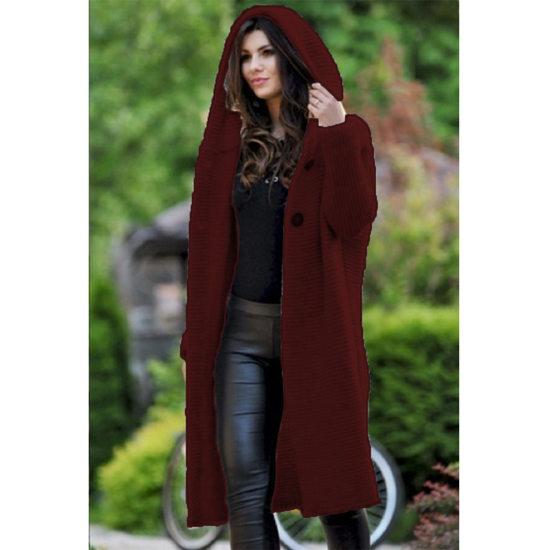 Cardigan Solid Long Hooded Jacket Women 2019 Autumn Winter Female Coat  Casual Knitted Long Sweaters Dropshipping