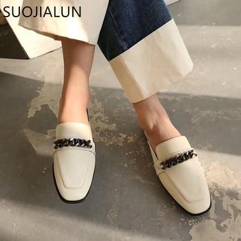 SUOJIALUN Luxury Design Slip On Outside Mules Slippers Brand Chain British Sandal Shoes Flat Round Toe Slides Big Size 41
