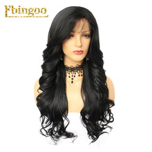 Ebingoo 1B# Black 613 Blonde Synthetic Lace Front Wig Long Body Wave Futura Fiber with Side Part Heat Resistant 26 Inch