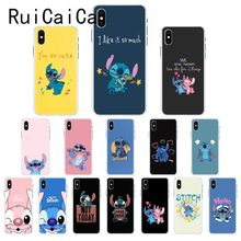 Ruicaica Lovely cartoon Stitch Cute Colorful Cute Phone Case Cover for iPhone 8 7 6 6S Plus X XS MAX 5 5S SE XR 10 Fundas Capa black cover lovely cat for iphone x xr xs max for iphone 8 7 6 6s plus 5s 5 se super bright glossy phone case