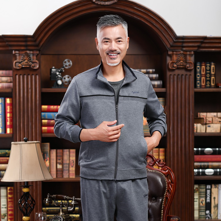 2019 Autumn New Style Middle-aged Leisure Suit Large Size Sports Set Men's Middle-aged Outdoor Running Casual Suit