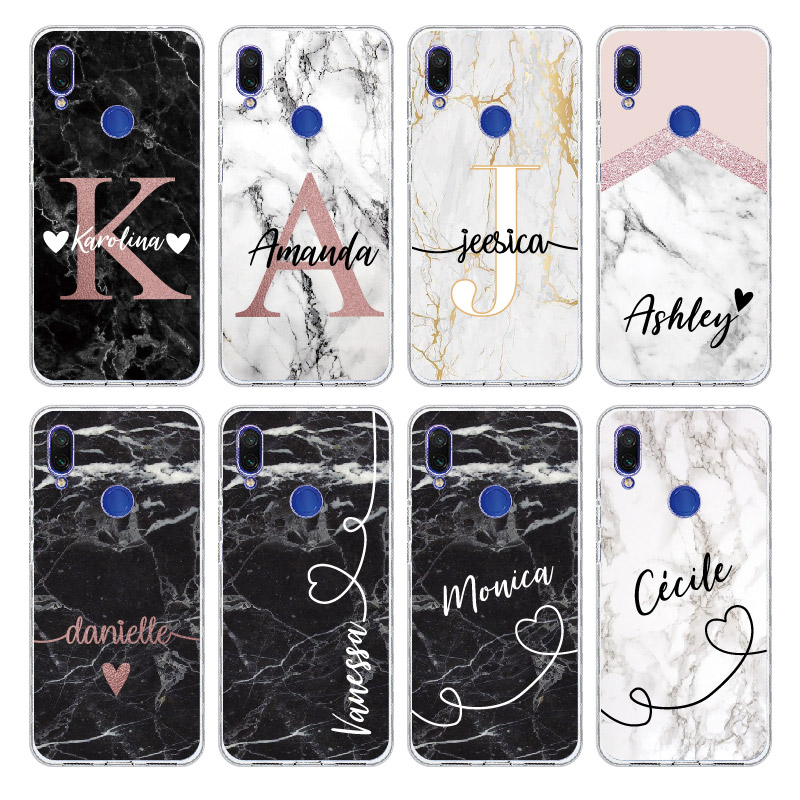 Custom Personalized your Initial Name Marble Phone Case For <font><b>Xiaomi</b></font> Mi <font><b>Redmi</b></font> <font><b>Note</b></font> 5 6 7 8 9 10 lite <font><b>Pro</b></font> Plus Soft TPU Clear Case image