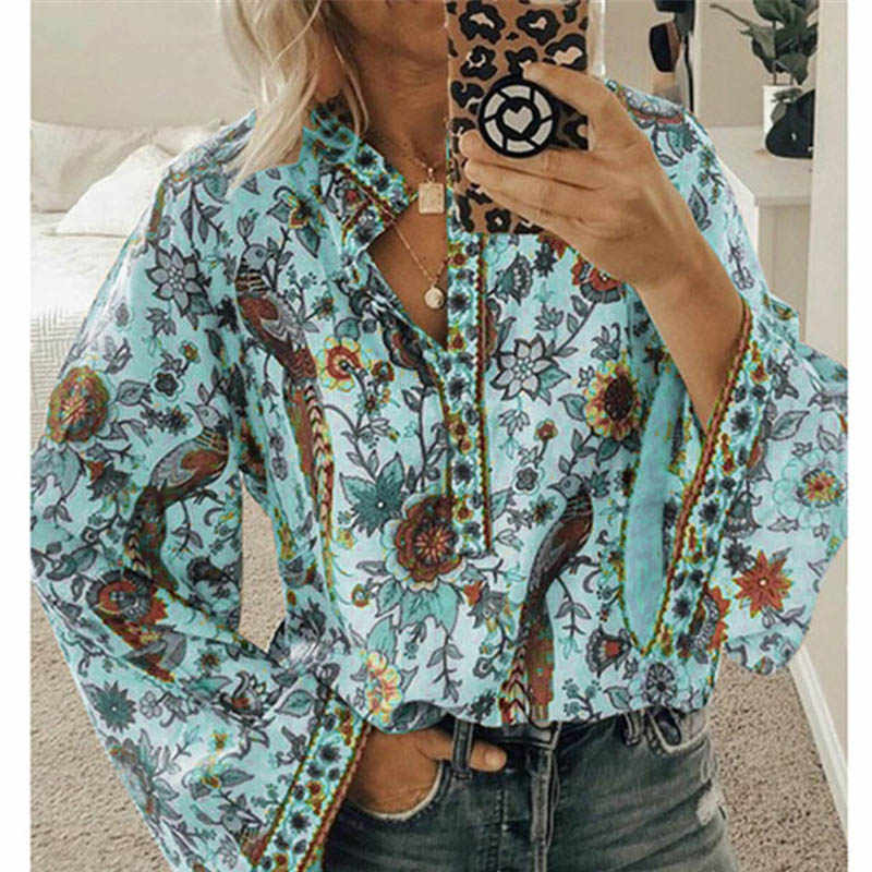 Fanbety プラスサイズ秋のシックなブラウス女性孔雀花柄長袖シャツ女性カジュアル V ネック自由奔放に生きるブラウストップス女性