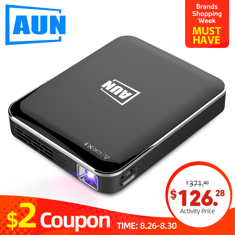 AUN MINI DLP Projector X3, Support Android/IOS screen mirroring, pocket projector for 1080P Home cinema , New phone beamer zwbra shower curtain