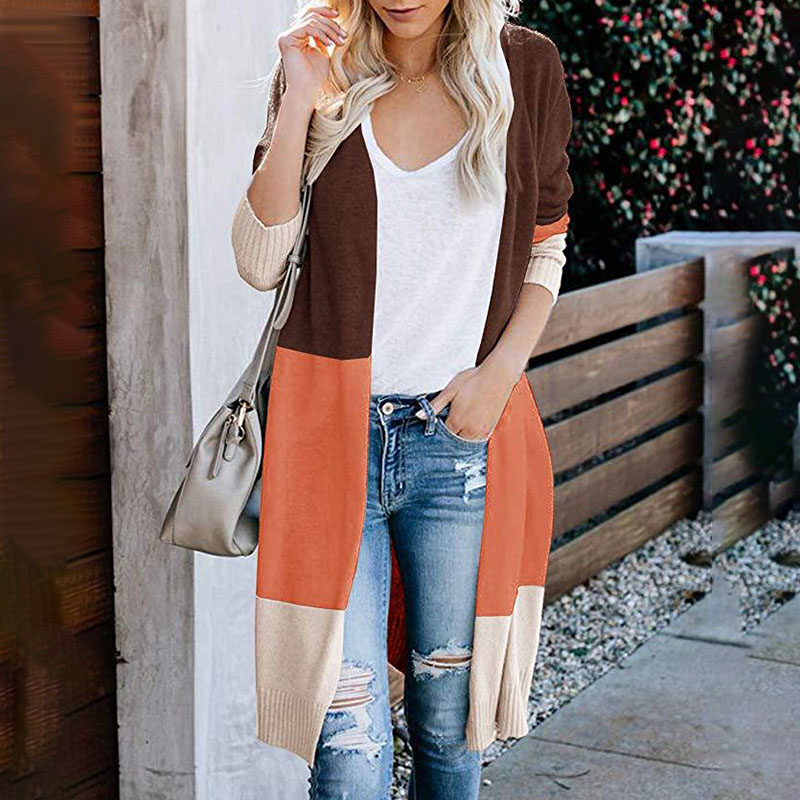 Three Color Patchwork Long Cardigans Women\'s Striped Knitted Sweater Autumn Winter Fashion  Coat Streetwear NEW