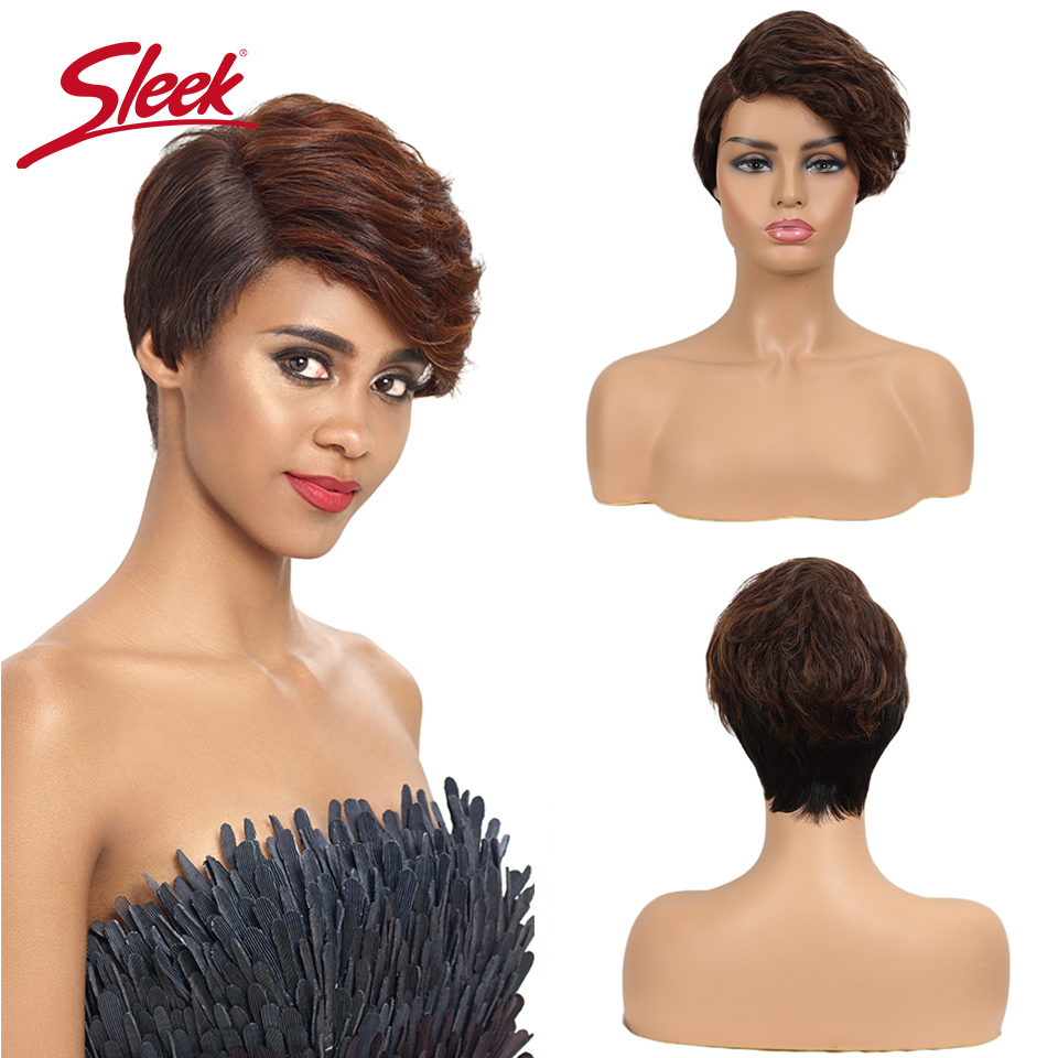 Sleek Short Human Hair Wig Pixie Cut Wig Mx Black Brown 100% Reamy Brazilian Part Lace Wigs For Black Women Cheap Red Wig
