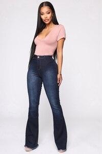 Image 2 - גבוהה מותן אבוקה ג ינס תחתון פעמון ג ינס אביב סתיו אתחול לחתוך ג ינס לנשים ג ינס סקיני ג ינס אמא רחב רגל בתוספת גודל מכנסיים