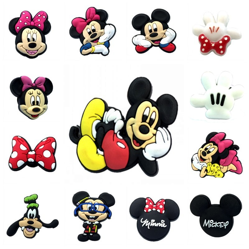 1pcs Mickey High Imitation Shoe Charms Cartoon Minnie Shoes Accessories Decor Buckles Fit Bracelets Croc Charms JIBZ Kids Gift