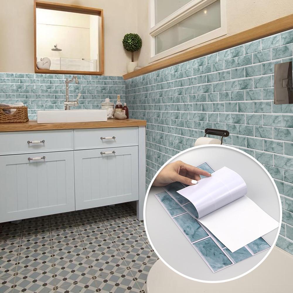 Cor chinesa tradicional 3d banheiro impermeável cozinha à prova de óleo decalques de parede decorativos telha adesivos auto adesivo pvc|Adesivos de parede|   -