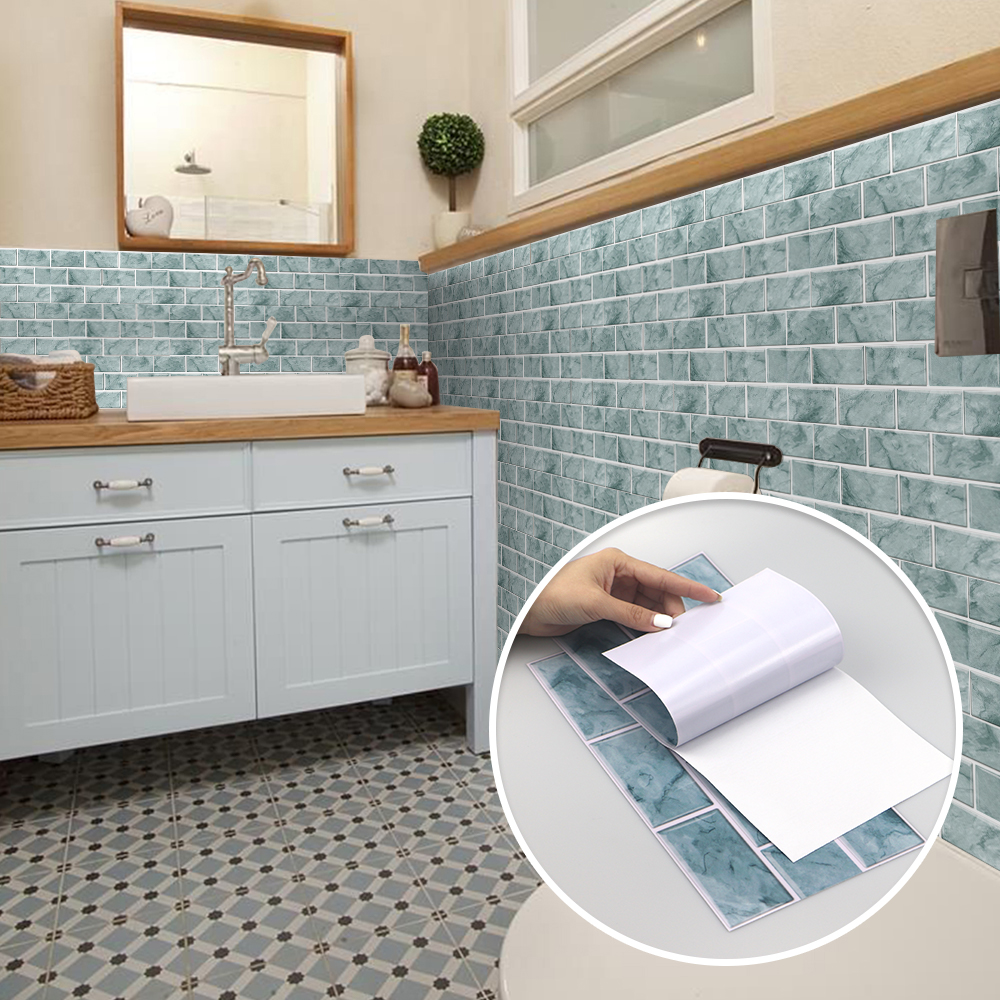 Traditional Chinese Color 3D Bathroom Waterproof Kitchen Oil-proof Wall Decals Decorative Tile Stickers Self-adhesive PVC