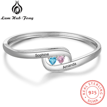 925 Sterling Silver Personalized Name Bracelets Bangles with Birthstone Heart CZ Bracelet Wedding Gift for Women (Lam Hub Fong)