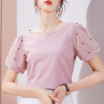 Koszulka z dekoltem w serek bawełna gaza Puff koszulka z krótkim rękawem kobiety 2021 lato topy odzież damska damska koreański modna koszulka koszula Femme tanie i dobre opinie shintimes Rękaw z bufkami Sukno CN (pochodzenie) COTTON spandex REGULAR tops Z KRÓTKIM RĘKAWEM SHORT Dobrze pasuje do rozmiaru wybierz swój normalny rozmiar