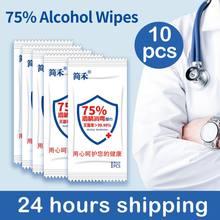 Lingettes nettoyantes pour les mains, lot de 10 pièces, lot de 75% alcool, avec sachet séparé, nettoyage, désinfection monolithe, humides