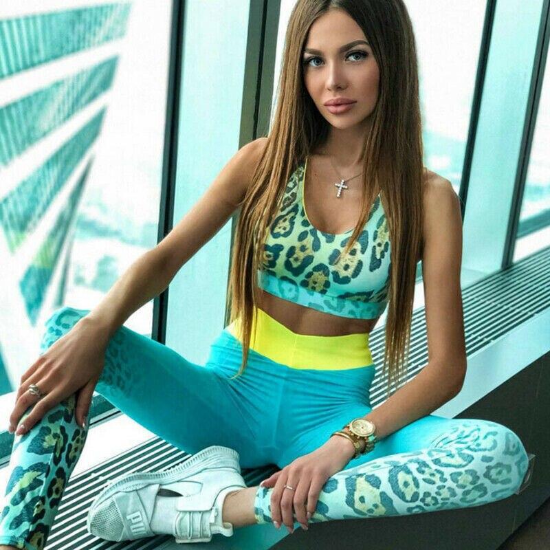 2Pcs Womens Sport Gym Yoga Vest Bra Sports Legging Pants Leopard Outfit Wear Set Lady Outdoor Fitness Running Sports Set