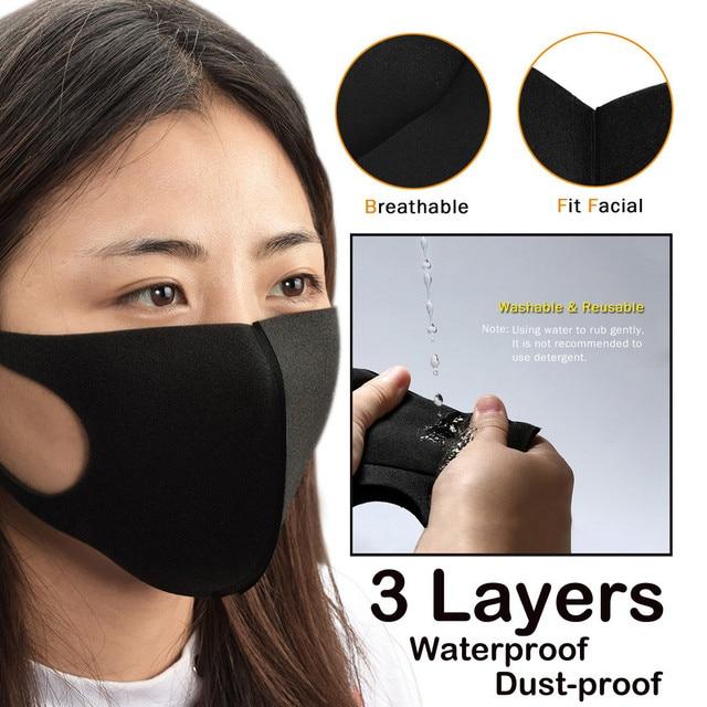 #H35 2 PCS Anti-Dust Cycling Masks Winter mens women Outdoor Running Bike Bicycle Riding running half Face Mask training black
