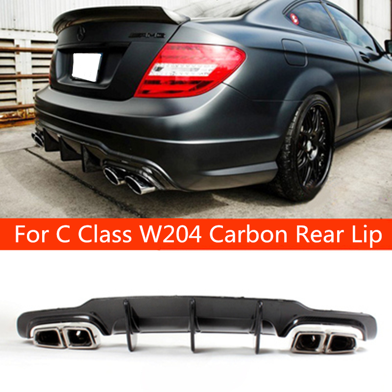 For C63 style real carbon fiber car rear lip spoiler diffuser for benz C CLASS W204 AMG Cutout/Blade Style Rear Bumper 2012-2014 image