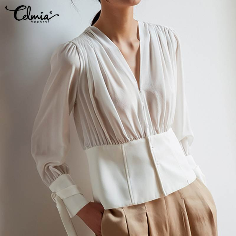 Women Tops And Blouses 2020 Celmia Summer Sexy V Neck Buttons White Ruffles Shirts Ladies Office Chiffon Tunic Top Party Blusas