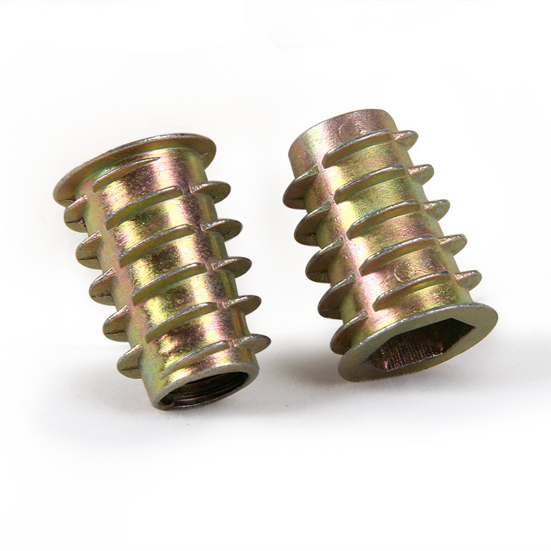 10/20/<font><b>30</b></font>/50Pcs <font><b>M4</b></font> M5 M6 M8 M10 Zinc Alloy Thread For Wood Insert Nut Flanged Hex Drive Head Furniture Nuts image