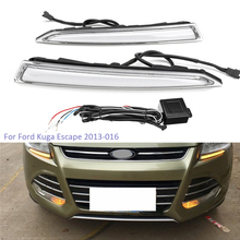 цена на YTCLIN LED DRL  Daytime Running Light for Ford Kuga Escape 2013 2014 2015 2016  Fog Lamp with Yellow Turning Signal Functions