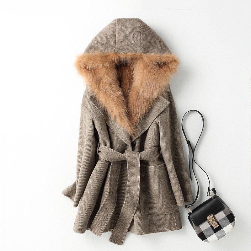 Coat Fur Real Female Real Fox Fur Parka 100% Wool Coat Winter Jacket Women Double Side Woolen Coats Manteau Femme MY4260 En S