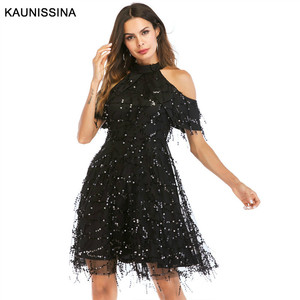 Image 1 - KAUNISSINA Taseel Party Dress Sequins Cocktail Dress Sexy Halter Neck Cold Collar Short Homecoming Robe Celebrity Gown