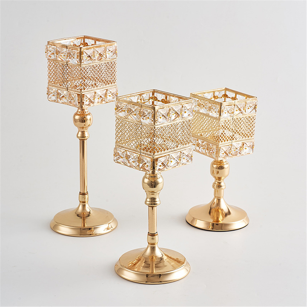Metalni držač za svijeće Kristali za svijeće Stalak za vjenčanje - Kućni dekor - Foto 2