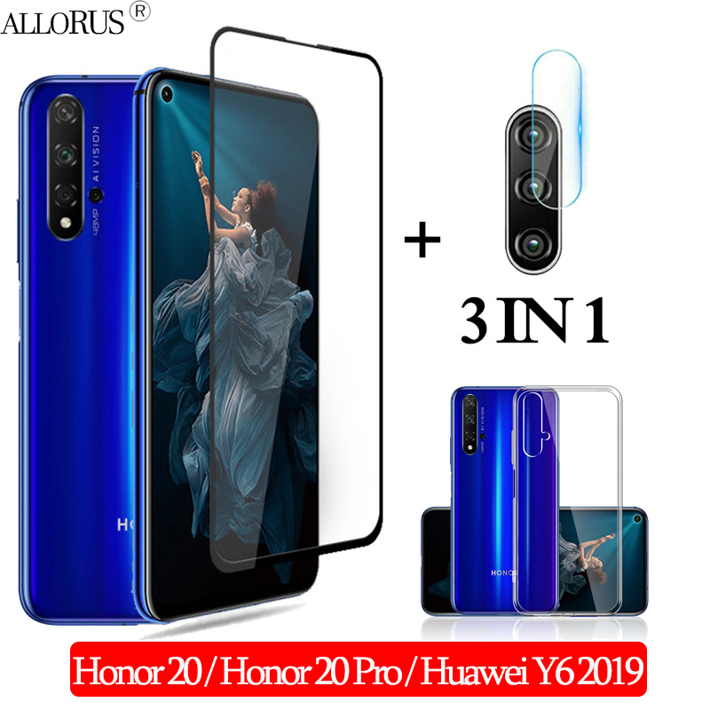 3-in-1 Case + Camera Tempered Glass For Honor 20 Pro 3D Glass Screen Protector Huawei-y6-2019 Full Cover Glass Honor 20 Pro