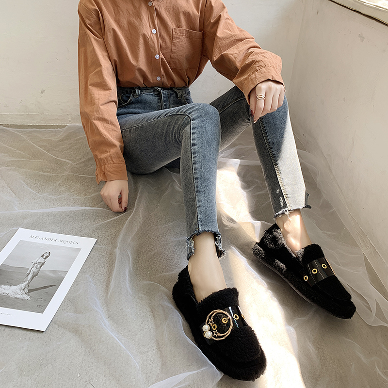 Women's Winter Flat Shoes Korean Suede Short Plush Lining Ladies Casual Sneakers Rubber Non-slip Bottom Winter Warm Womenshoes 45