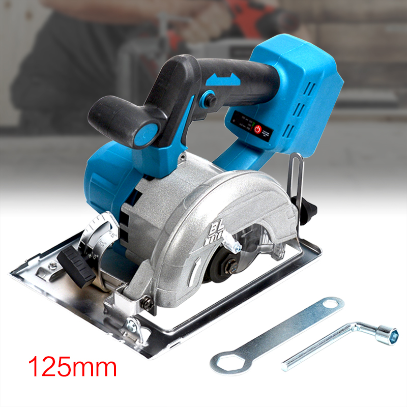 125mm 10800RPM Cordless Electric Circular Saw Power Tools Adjustable Curved Cutting Sawing Machine for 18V Makita Battery