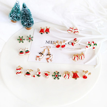 Santa Claus Snowflake Snowman Bell Earrings Christmas Candy Cane Stud for Lovely Xmas Gifts Women Girls