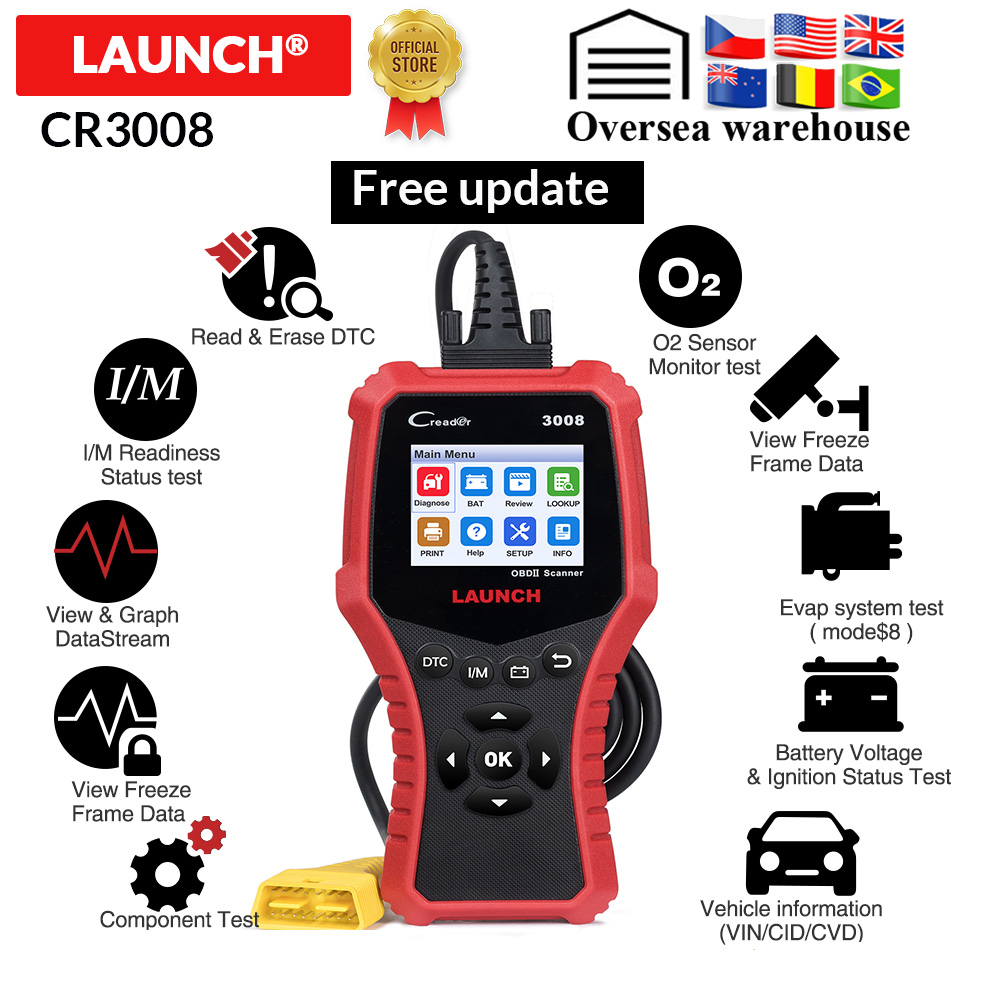 LAUNCH X431 CR3008 OBD2 Automotive Scanner OBDII Code Reader Diagnostic Tool Battery Voltage Test Tool Free Update Pk KW850