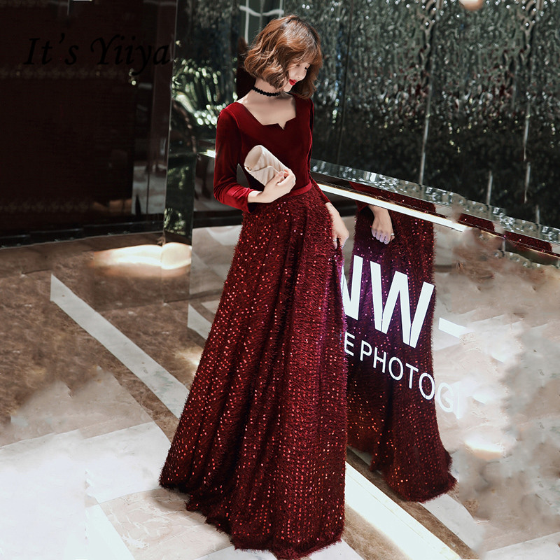 It's YiiYa Evening Dress Long Sleeve Square Collar Robe De Soiree K147 Elegant Burgundy Plus Size Formal Evening Dresses 2020