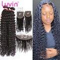 Luvin глубокая волна 3 4 человеческие волосы бразильские пряди с 5x5 HD прозрачное кружево Закрытие 13х6 фронтальные Виргинские кудрявые свободны...