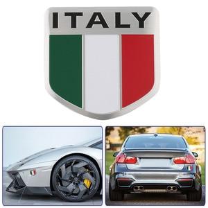 3D Aluminum Italy Map National Flag Car Sticker Car Styling For Fiat Iveco Lamborghini For Alfa Romeo DeTomaso Maserati Zagato