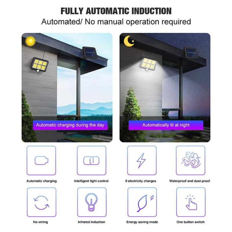 COB Wall Mounted Solar Outdoor Light with 120LED and Motion Sensor Suitable for Street and Garden 3