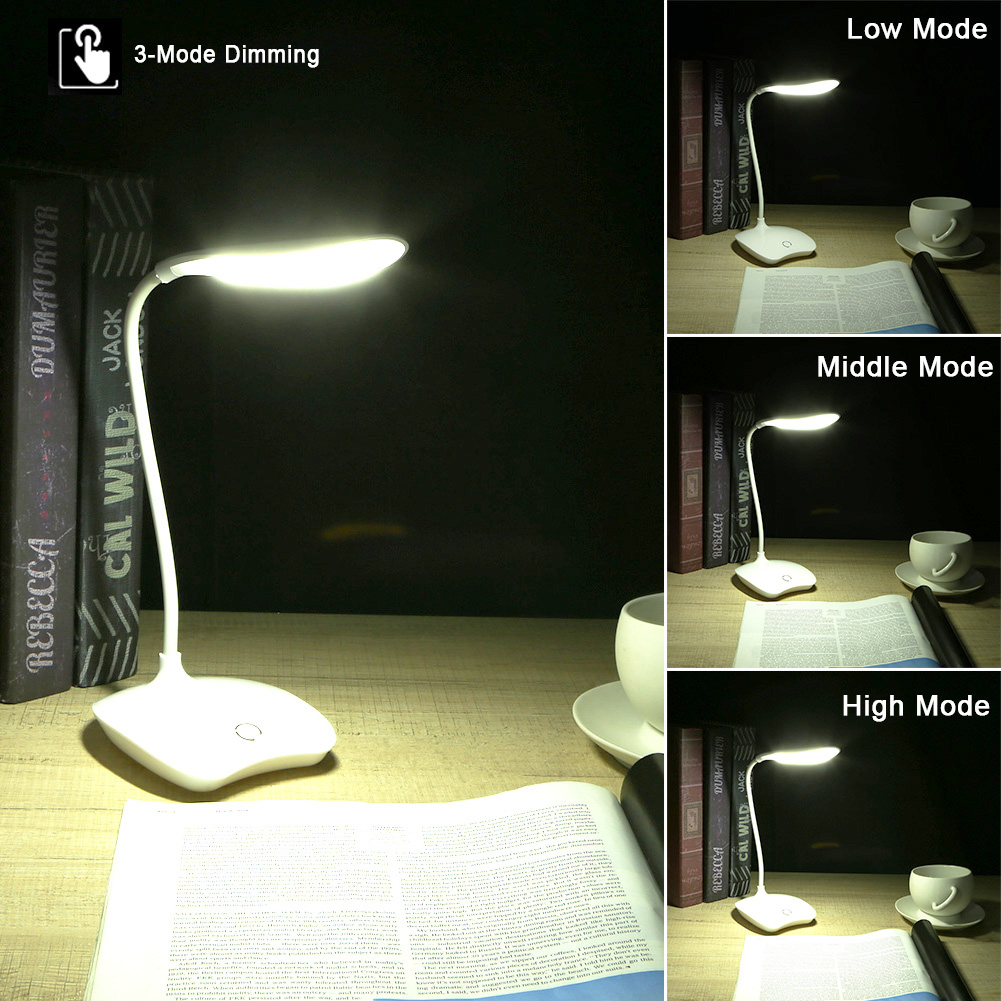 LED Touch Sensor Book Light Table Reading Lamp Dimmable Rechargeable USB Study White Light